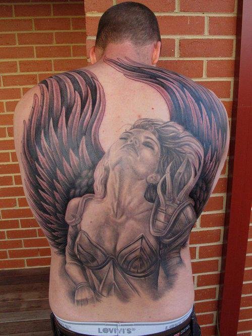 grey-ink-angel-girl-back-body-tattoo-for-men