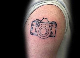 outline-minimalist-camera-upper-arm-tattoos-for-gentlemen