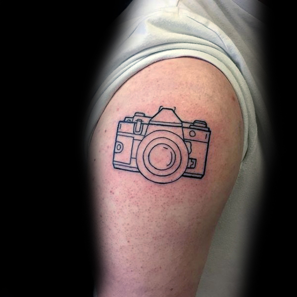 outline-minimalist-camera-upper-arm-tattoos-for-gentlemen