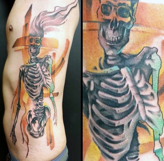 skeleton-rib-cage-side-tattoo-for-men
